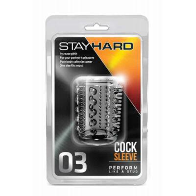 STAY HARD - COCK SLEEVE 03 CLEAR PÉNISZGYŰRŰ - 1 DB